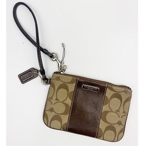 Coach Zip Wristlet In Signature Canvas